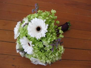Green hydrangea with white mini gerbera daisies