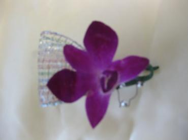 Boutonierre for Father of the Bride - purple dendrobium orchid s