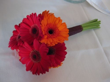 Mixed fall gerbera daisies bridal bouquet