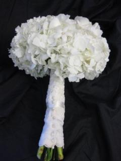 White hydrangea with pearl studded stephanotis Bridal Bouquet