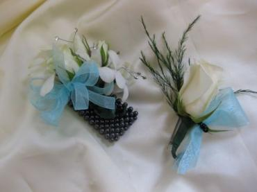 White Orchid corsage and boutonniere pair