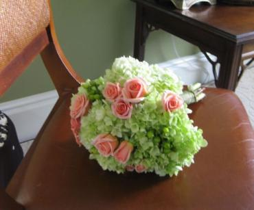 Bridal Attendant\'s Bouquet with green hydrangea, hypericum berri