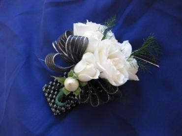 Timeless Black & White Wrist Corsage